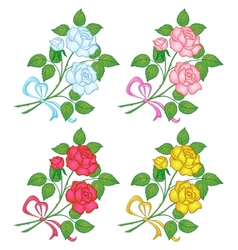 Flowers rose set vector