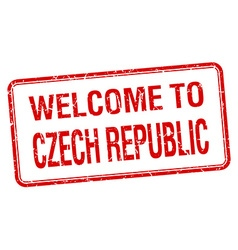 Welcome to czech republic red grunge square stamp vector
