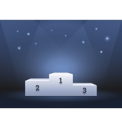 Pedestal for winners podium on blue background vector