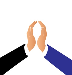 Hands in a pact business logo vector image