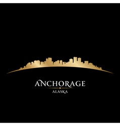 Anchorage Alaska city skyline silhouette vector image vector image