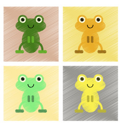 Assembly flat shading style icons cute frog vector