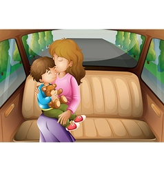 Boy and mother in back seat vector