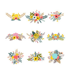 collection with leaves and flowers set of floral vector image vector image