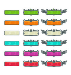 colorful horizontal buttons for game or web design vector image vector image