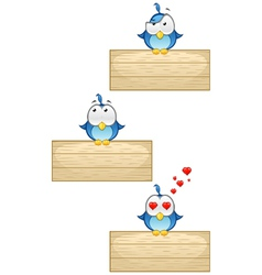 Cute Blue Birds on Wooden Sign Set 3 vector image