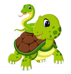 Cute snake and turtle vector