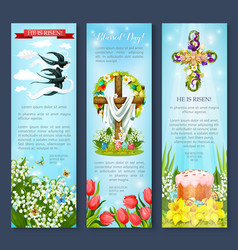 Easter egg cross cake bird cartoon banner set vector