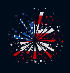 Fireworks with usa flag vector