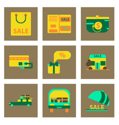 Flat assembly icons of set of gifts and discounts vector