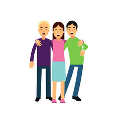 group of tree best friends standing and hugging vector image