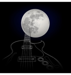 Guitar on a background of the moon vector