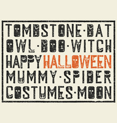 halloween words decorative poster grunge stamp vector image vector image