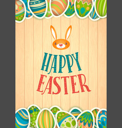 Happy easter greeting card wooden background and vector