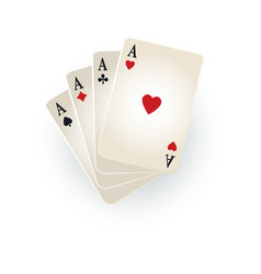 Hearts spades clubs diamonds ace playing cards vector