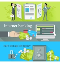 Internet banking and safe storage money vector