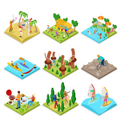 isometric outdoor activity kayaking volleyball vector image vector image