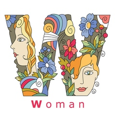 Letter w woman vector