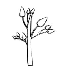 Monochrome sketch of small tree with leafs vector