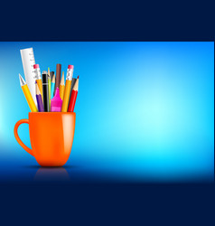 Orange stationary mug with pen pencil eraser vector
