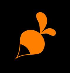 Radish simple sign orange icon on black vector