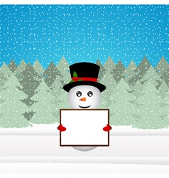 Snowman holding a banner in the forest vector