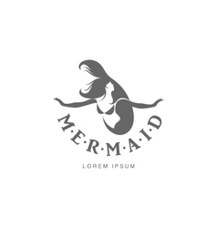Stylized graphic logo template with long haired vector image
