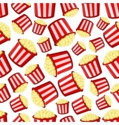 Takeaway buckets of popcorn seamless pattern vector image