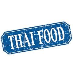 Thai food blue square vintage grunge isolated sign vector