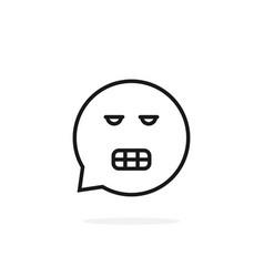 thin line gnash emoji speech bubble logo vector image
