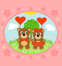 valentines day background card with bear vector image