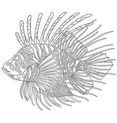 Zentangle stylized cartoon zebrafish vector