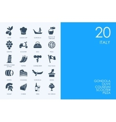 Set of BLUE HAMSTER Library Italy icons vector image