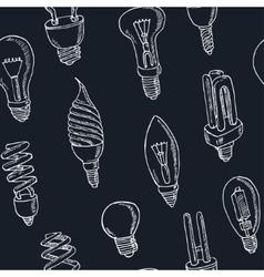 Doodle seamless pattern light bulbs vector image