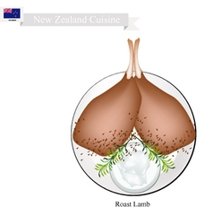 Roasted lamb legs the popular dish of new zealand vector