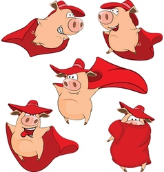 Set cartoon cute pigs in superhero vector