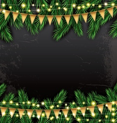 Empty christmas template with fir branches vector