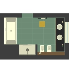 Bathroom in flat style top view vector