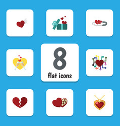 Flat icon amour set of divorce necklace emotion vector