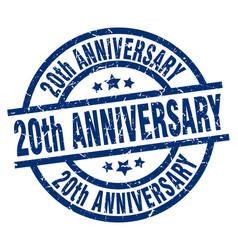 20th anniversary blue round grunge stamp vector
