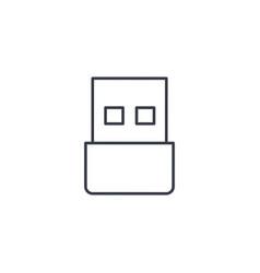 Usb flash drive thin line icon linear vector
