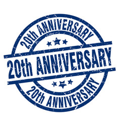 20th anniversary blue round grunge stamp vector