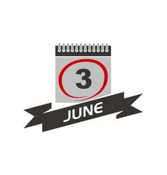 3 june calendar with ribbon vector