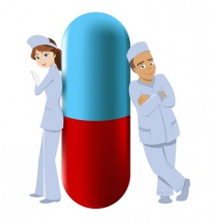 Two pharmacists with big pill vector
