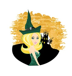 Beautiful halloween witch vector