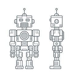 Simple line retro robot vector