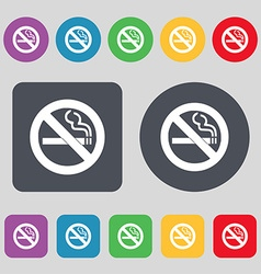 No smoking icon sign a set of 12 colored buttons vector