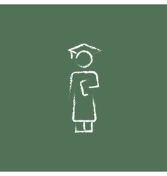 Graduation icon drawn in chalk vector