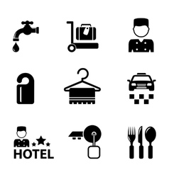 Hotel icon services set vector