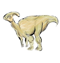 Parasaurolophus isolated on white vector